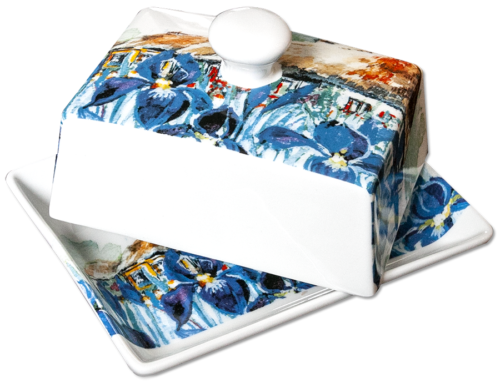 Summer Iris Butter Dish