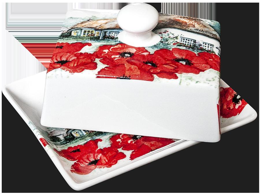 Oriental Poppy Butter Dish