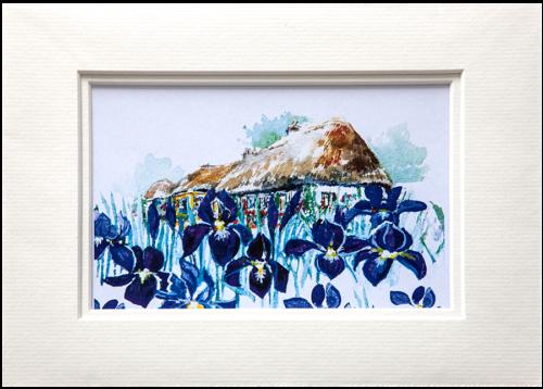 Mounted Print in Summer Iris design