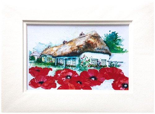 Mounted Print in Oriental Poppy design