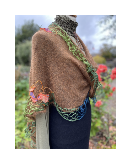 brown kid mohair twisted wrap with hand decoration
