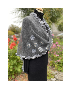 grey kid mohair knitted wrap