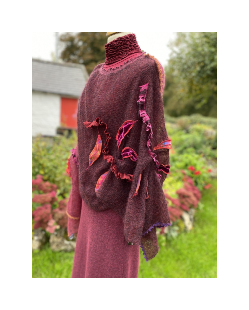 wine ruffled ladies knitted poncho by Lucy Erridge