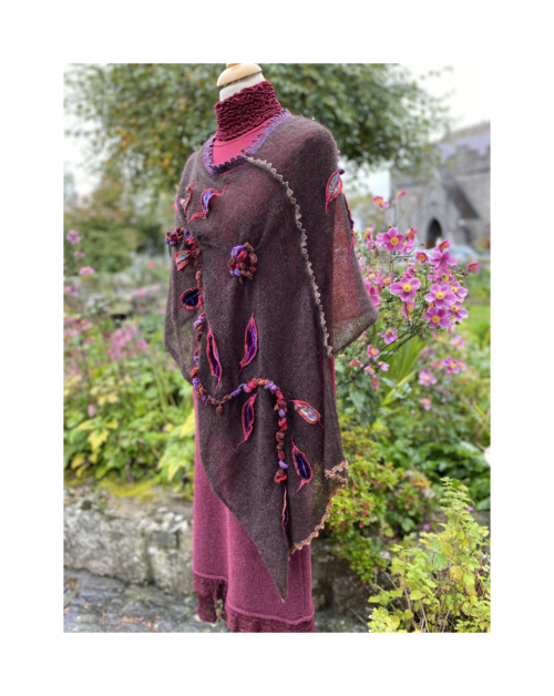 brown hand decorated knitted poncho by Lucy Erridg
