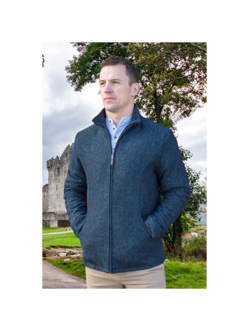 Donegal woolen tweed Blue mens jacket at Lucy Erridge Adare