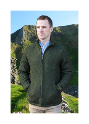 Donegal tweed Olive mens jacket at Lucy Erridge Adare