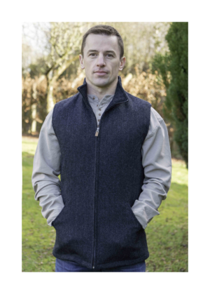 Mens blue woolen tweed sleeveless jacket at Lucy Erridge Adare