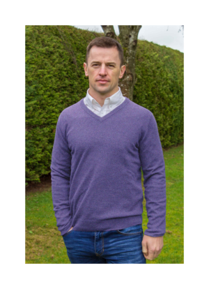 Superfine lambswool v neck Thistledown sweater at Lucy Erridge Adare