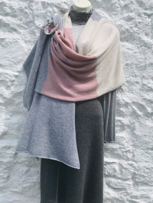 knitted cashmere Travel wrap designed by Lucy Erridge in Ireland