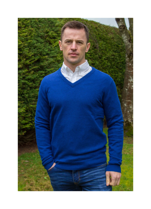 superfine lambswool v-neck knitted mens sweater at Lucy Erridge Adare