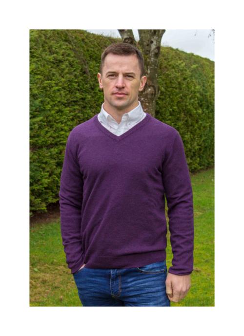 superfine lambswool v neck Purple mens sweater at Lucy Erridge