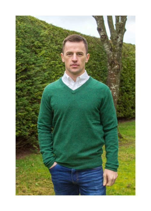 superfine lambswool v neck green mens sweater at Lucy Erridge Adare