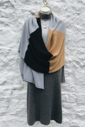 Lucy Erridge designed Pure cashmere knitted travel wrap in classic colours