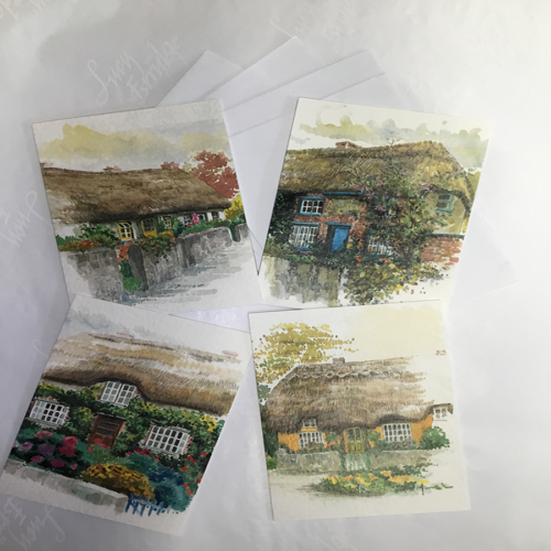 4 thatched cottage greetings cards