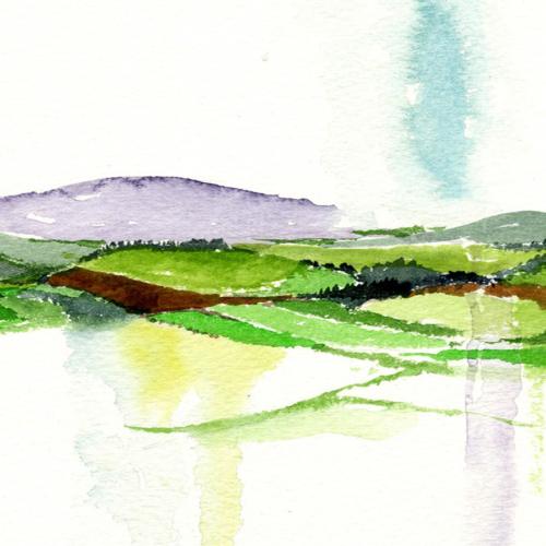 After the rain. An original landscape watercolour painting of Ireland by artist Alison Erridge.