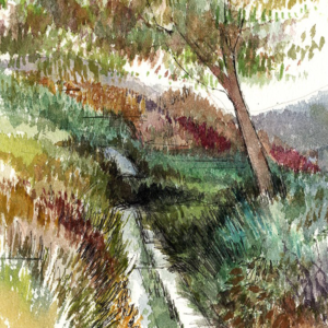 Autumn Boreen An original landscape watercolour painting of Ireland by artist Alison Erridge.