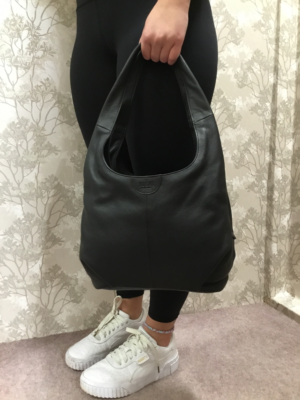 Black Leather Slouch ladies hand bag