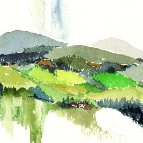 Clare Hills 2 An original landscape watercolour painting of Ireland by artist Alison Erridge.