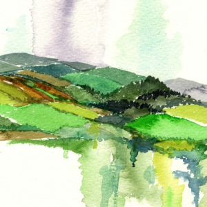 East Clare Hills A landscape watercolour painting of Ireland by artist Alison Erridge.