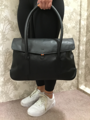 Large black leather shoulder or hand bag