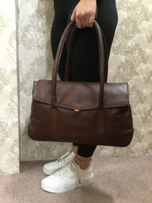 Large brown leather shoulder bag