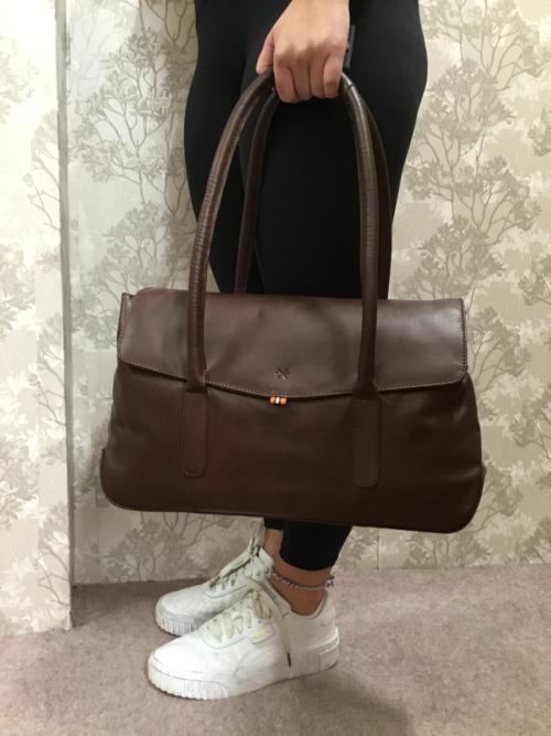 Large brown leather shoulder bag