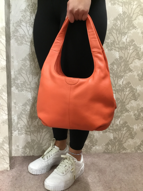 Coral Leather ladies Slouch handbag