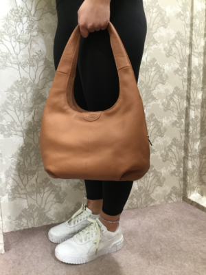 Tan Leather Slouch hand Bag