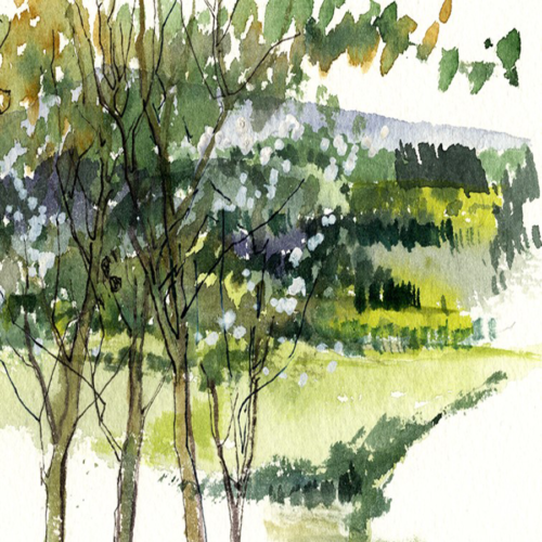 Through the Trees watercolour painting