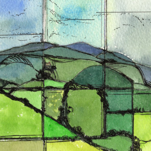 Towards Lough Derg Clare watercolour landscape painting of Ireland