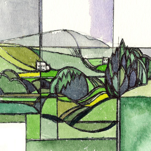 Trees and Hills Clare original watercolour painting