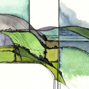 West Clare Countyside landscape watercolour painting