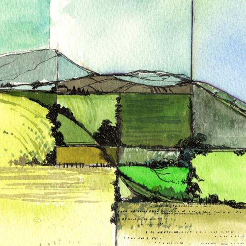 Originalwest Clare landscape watercolour painting of the Irish Landscape