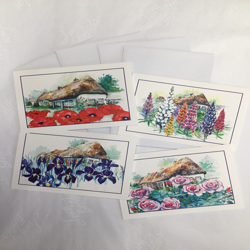 pack of 4 cottage garden notelets