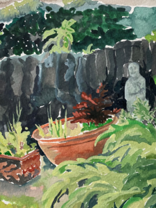 watercolour by Lucy Erridge of our cottage garden Adare