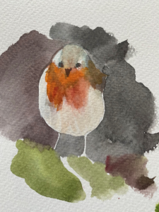 watercolour by Lucy Erridge of our resident robin
