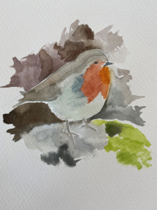 watercolour by Lucy Erridge of a robin helping in the garden